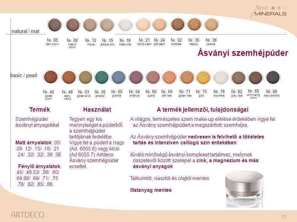 11 Ásványi szemhéjpúder TermékHasználatA termék jellemzői, tulajdonságai Szemhéjpúder ásványi anyagokkal Matt árnyalatok:.05/.09.12/.15/.18/.21.24/.32