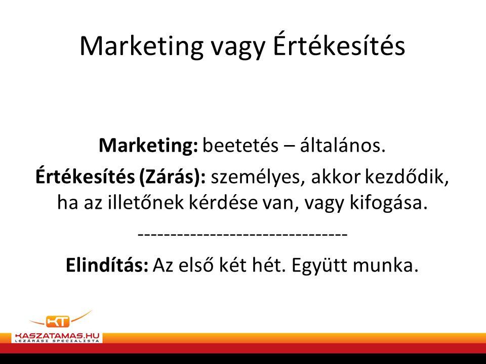 Marketing vagy Értékesítés Marketing: beetetés – általános.