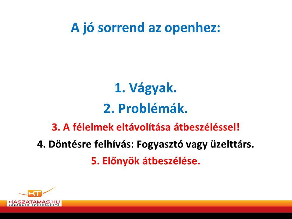 A jó sorrend az openhez: 1.Vágyak. 2. Problémák. 3.