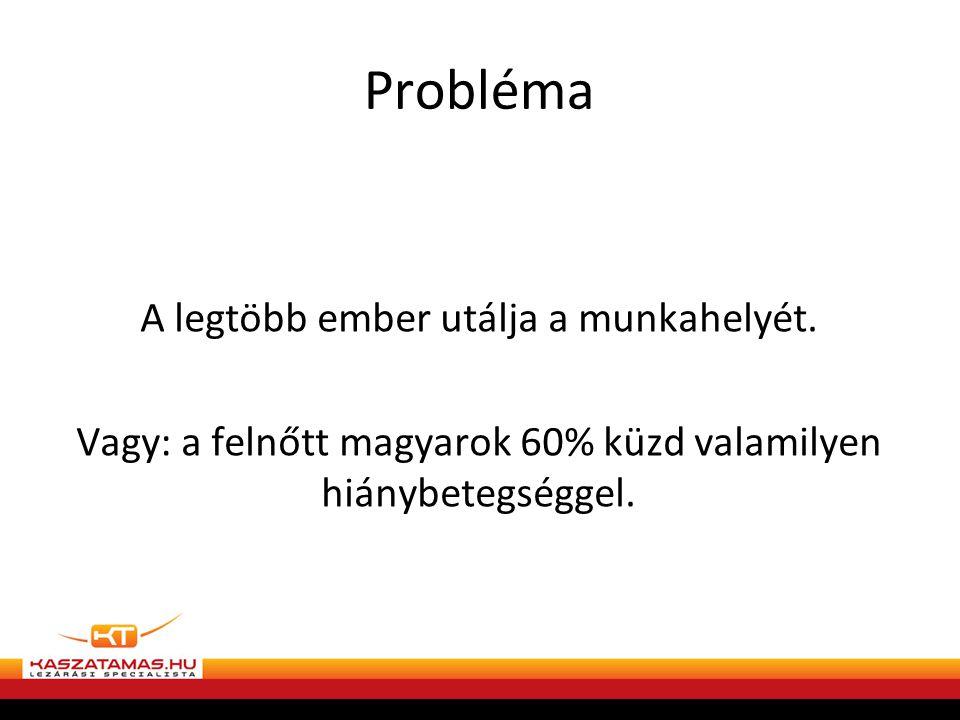 Probléma A legtöbb ember utálja a munkahelyét.