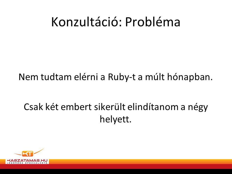 Konzultáció: Probléma Nem tudtam elérni a Ruby-t a múlt hónapban.