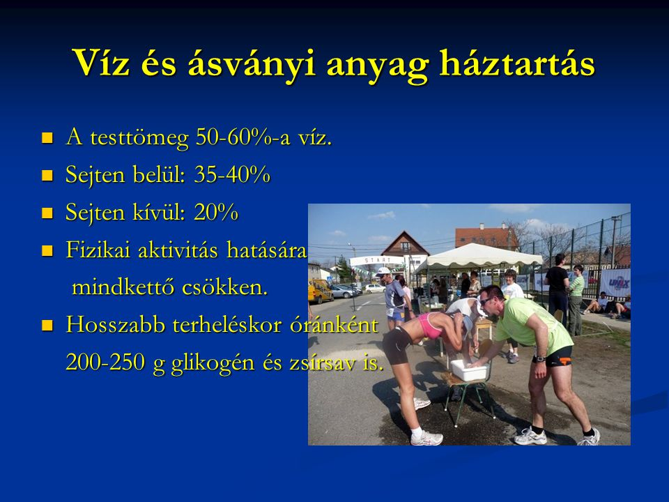 Víz és ásványi anyag háztartás A testtömeg 50-60%-a víz.