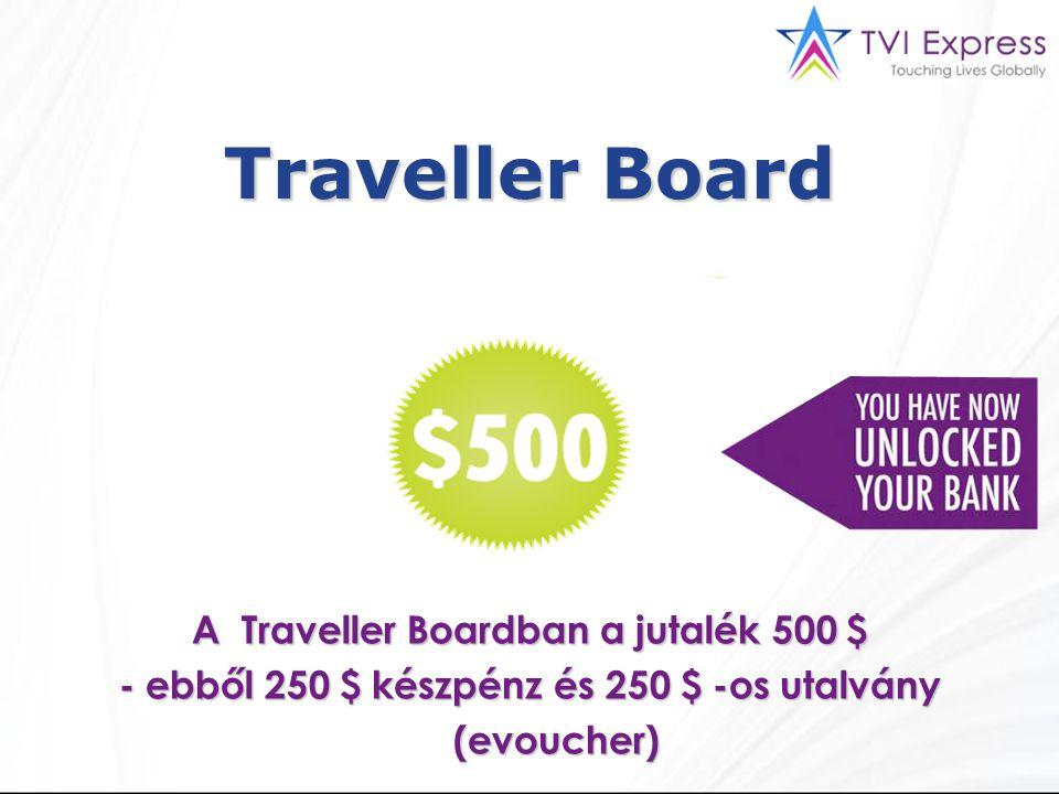 Traveller Board A Traveller Boardban a jutalék 500 $ - ebből 250 $ készpénz és 250 $ -os utalvány (evoucher) 