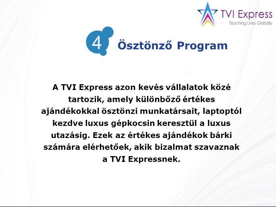 A TVI Express azon kevés vállalatok közé tartozik, amely különbőző értékes ajándékokkal ösztönzi munkatársait, laptoptól kezdve luxus gépkocsin keresztül a luxus utazásig.