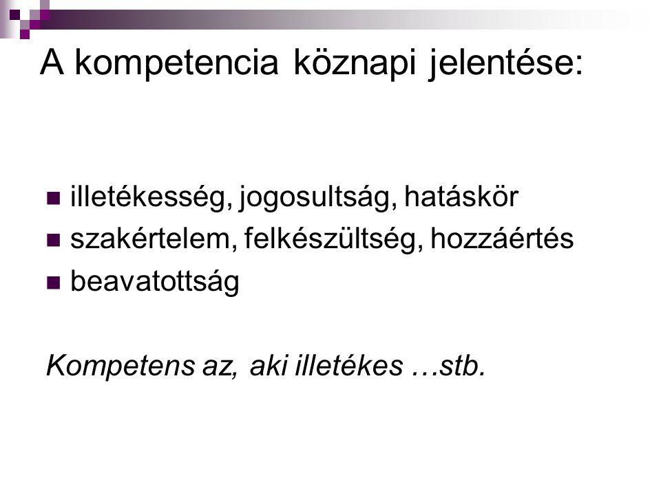 A kompetencia köznapi jelentése: illetékesség, jogosultság, hatáskör szakértelem, felkészültség, hozzáértés beavatottság Kompetens az, aki illetékes …
