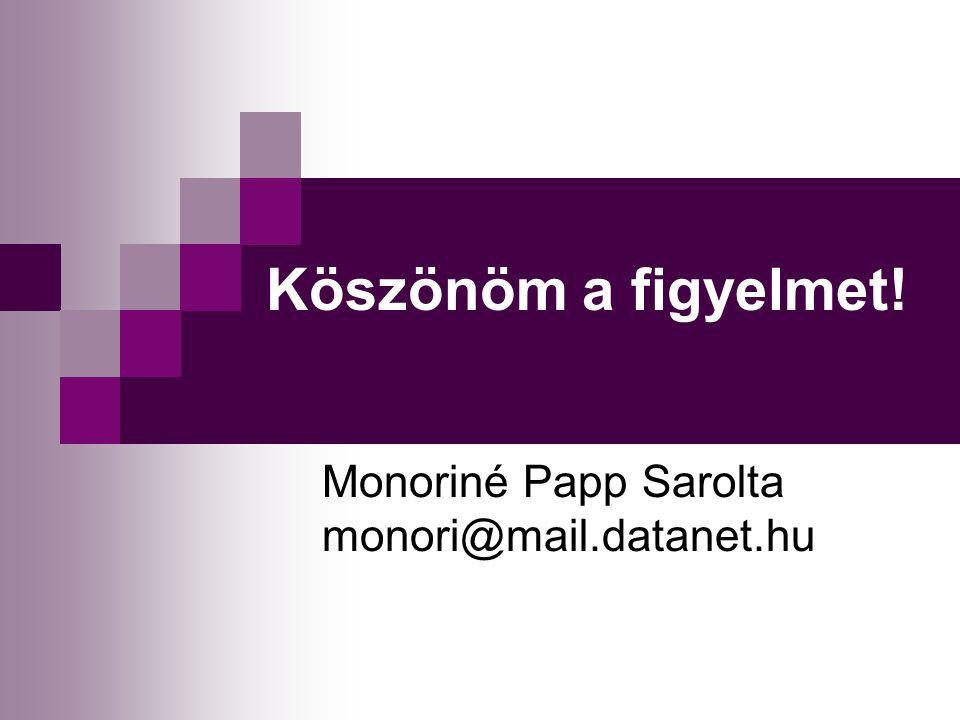 Monoriné Papp Sarolta monori@mail.datanet.hu Köszönöm a figyelmet!