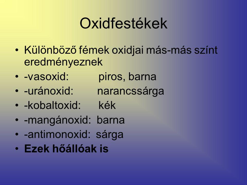 Oxidfestékek Különböző fémek oxidjai más-más színt eredményeznek -vasoxid: piros, barna -uránoxid: narancssárga -kobaltoxid: kék -mangánoxid: barna -a