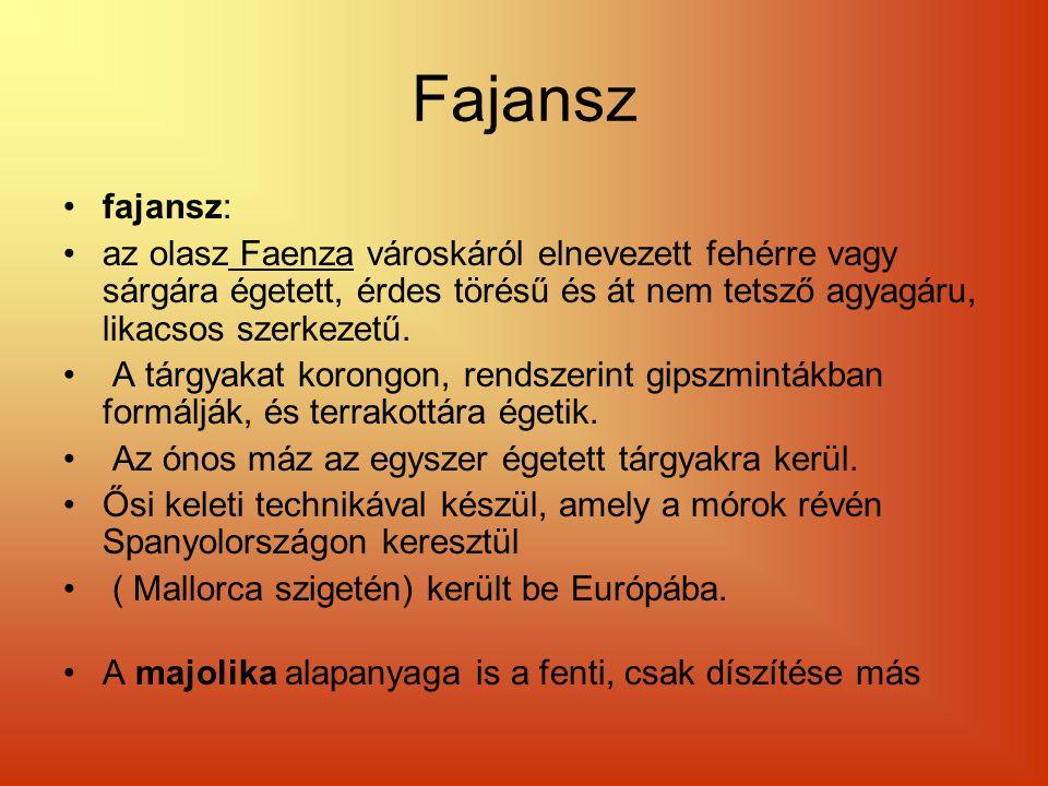 Fajansz fajansz: az olasz Faenza városkáról elnevezett fehérre vagy sárgára égetett, érdes törésű és át nem tetsző agyagáru, likacsos szerkezetű. A tá