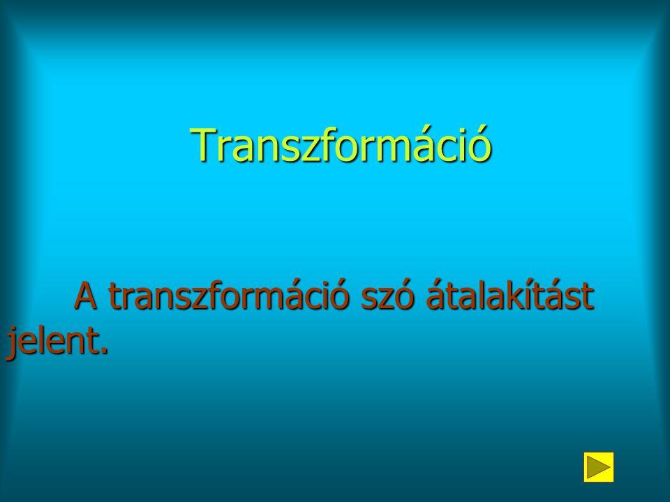 Transzformáció A transzformáció szó átalakítást jelent.