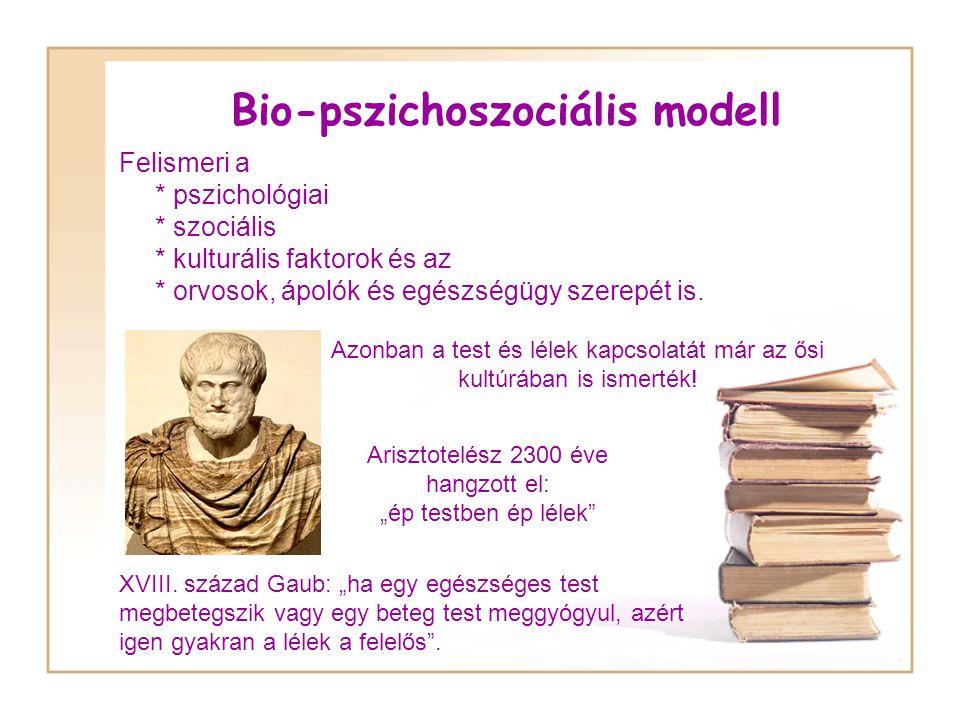 Bio-pszichoszociális modell Felismeri a * pszichológiai * szociális * kulturális faktorok és az * orvosok, ápolók és egészségügy szerepét is.