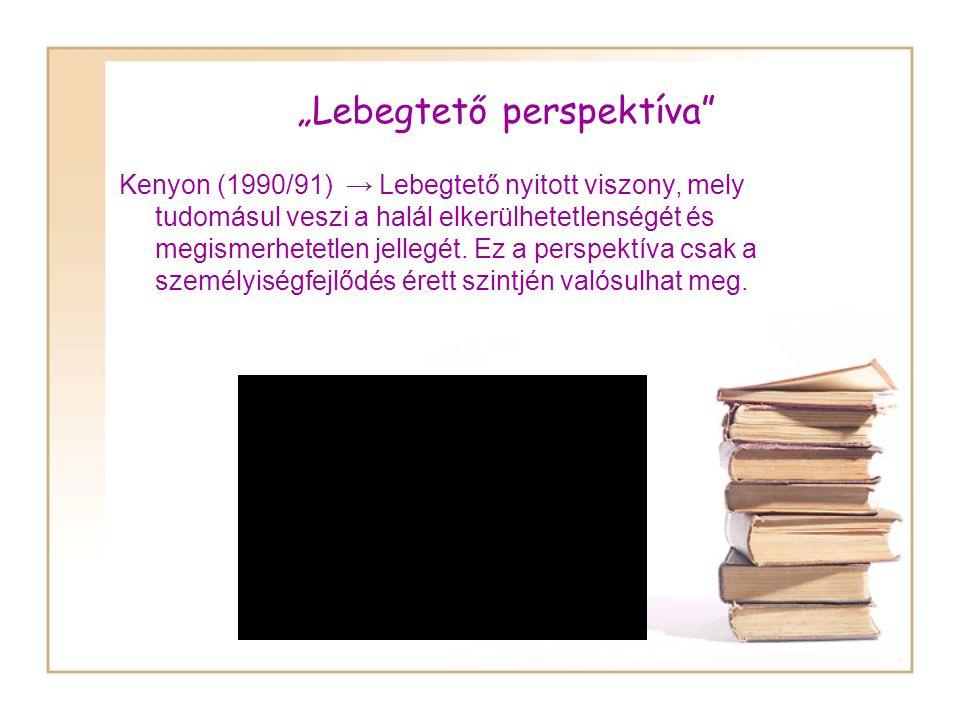 """""""Lebegtető perspektíva Kenyon (1990/91) → Lebegtető nyitott viszony, mely tudomásul veszi a halál elkerülhetetlenségét és megismerhetetlen jellegét."""