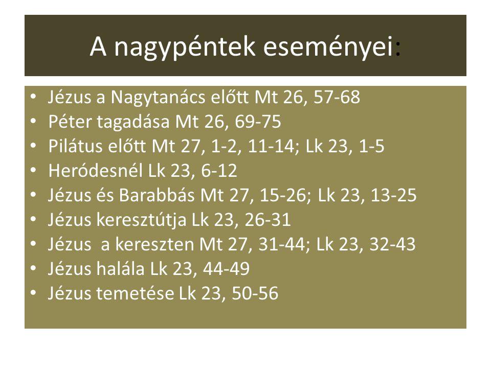 A nagypéntek eseményei: Jézus a Nagytanács előtt Mt 26, 57-68 Péter tagadása Mt 26, 69-75 Pilátus előtt Mt 27, 1-2, 11-14; Lk 23, 1-5 Heródesnél Lk 23, 6-12 Jézus és Barabbás Mt 27, 15-26; Lk 23, 13-25 Jézus keresztútja Lk 23, 26-31 Jézus a kereszten Mt 27, 31-44; Lk 23, 32-43 Jézus halála Lk 23, 44-49 Jézus temetése Lk 23, 50-56