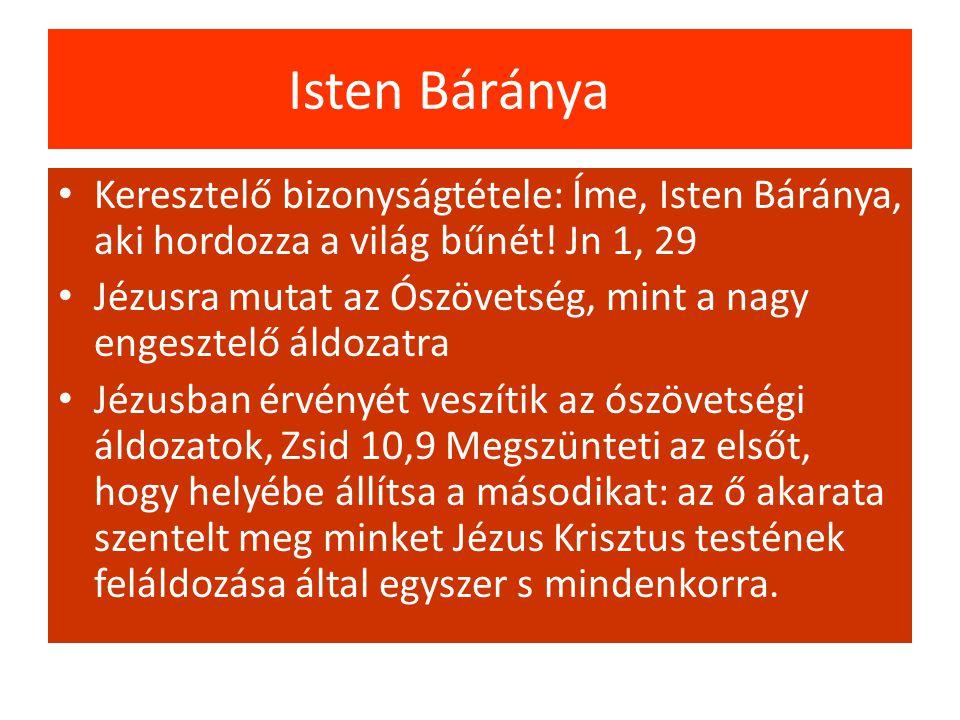 Isten Báránya Keresztelő bizonyságtétele: Íme, Isten Báránya, aki hordozza a világ bűnét.