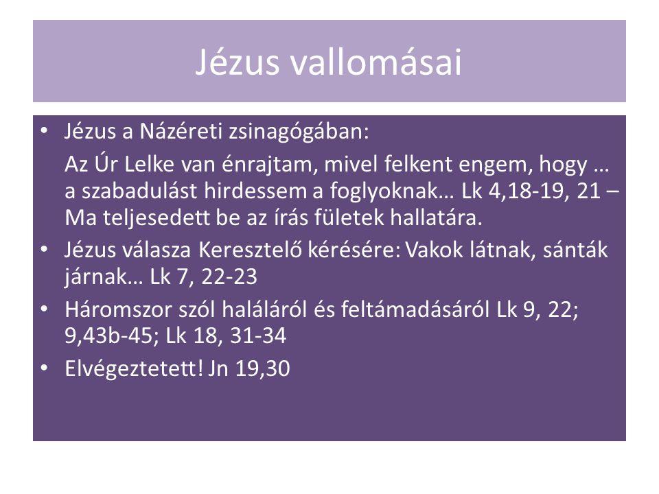 Jézus vallomásai Jézus a Názéreti zsinagógában: Az Úr Lelke van énrajtam, mivel felkent engem, hogy … a szabadulást hirdessem a foglyoknak… Lk 4,18-19