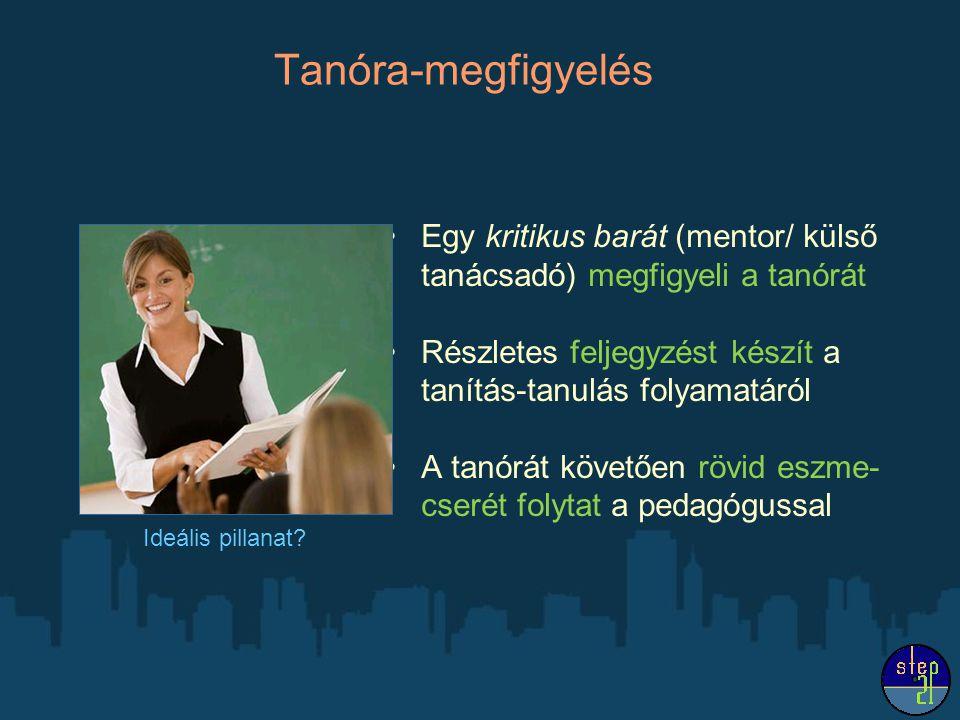 Tanóra-megfigyelés Egy kritikus barát (mentor/ külső tanácsadó) megfigyeli a tanórát Részletes feljegyzést készít a tanítás-tanulás folyamatáról A tan