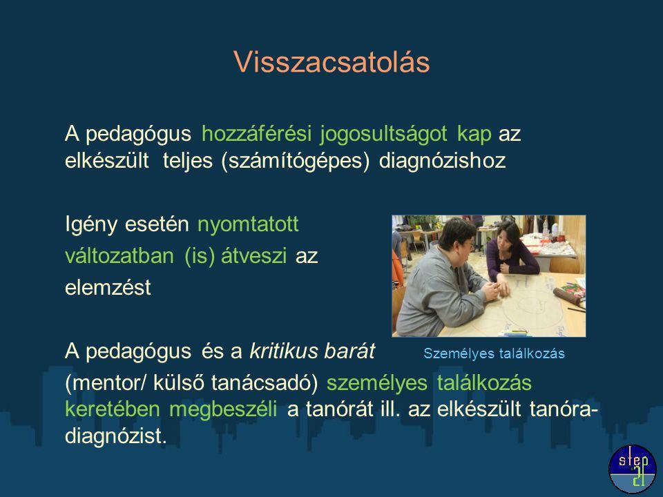 Visszacsatolás A pedagógus hozzáférési jogosultságot kap az elkészült teljes (számítógépes) diagnózishoz Igény esetén nyomtatott változatban (is) átve