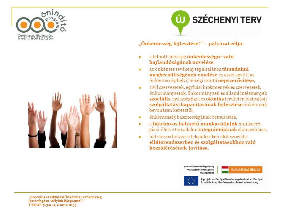"""""""Önkéntesség fejlesztése!"""" – pályázat célja: a felnőtt lakosság önkéntességre való hajlandóságának növelése, az önkéntes tevékenység általános társada"""