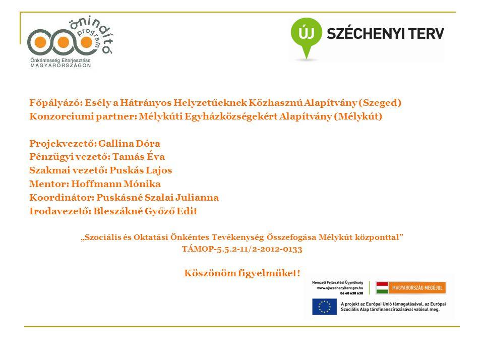 Főpályázó: Esély a Hátrányos Helyzetűeknek Közhasznú Alapítvány (Szeged) Konzorciumi partner: Mélykúti Egyházközségekért Alapítvány (Mélykút) Projekve