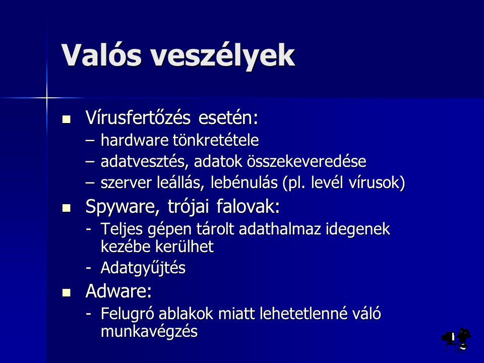 Csoportosítási lehetőségek Típus szerint Típus szerint –File vírusok –Boot vírusok –Makró vírusok (Word, Excel, Powerpoint, Access) –Java, javascript és vb script vírusok – webes vírusok Visszakeresés elleni védelem szerint Visszakeresés elleni védelem szerint –Kódolt vírusok (vírustest kódolt, test + kibontó) –Polimorf vírusok (változó kódolás) –Lopakodó vírusok –Visszafejtés elleni vírusok Kártétel szerint Kártétel szerint –destruktív –nem destruktív