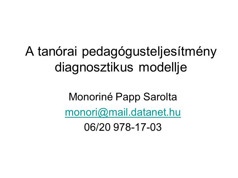 A tanórai pedagógusteljesítmény diagnosztikus modellje Monoriné Papp Sarolta monori@mail.datanet.hu 06/20 978-17-03