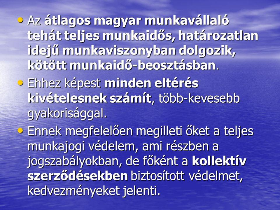 Az átlagos magyar munkavállaló tehát teljes munkaidős, határozatlan idejű munkaviszonyban dolgozik, kötött munkaidő-beosztásban. Az átlagos magyar mun