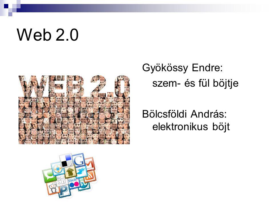 Web 2.0 Gyökössy Endre: szem- és fül böjtje Bölcsföldi András: elektronikus böjt