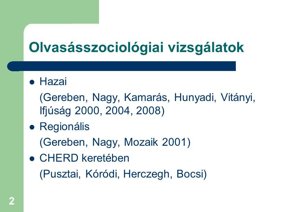 2 Olvasásszociológiai vizsgálatok Hazai (Gereben, Nagy, Kamarás, Hunyadi, Vitányi, Ifjúság 2000, 2004, 2008) Regionális (Gereben, Nagy, Mozaik 2001) C