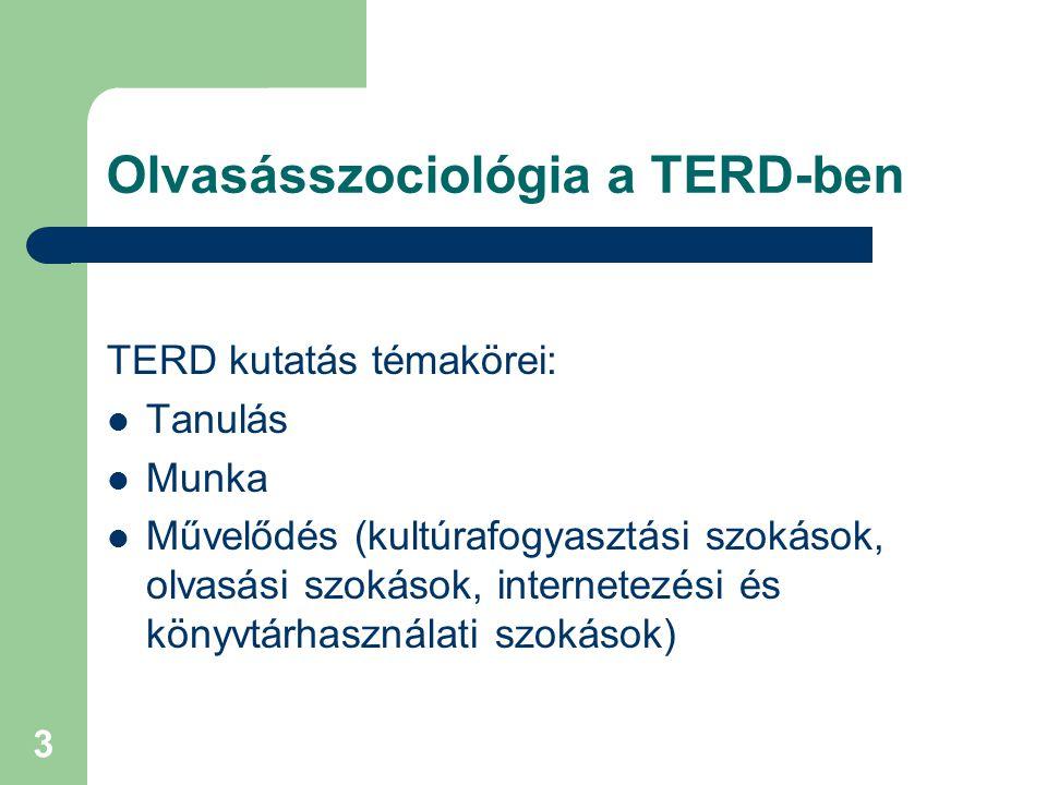 3 Olvasásszociológia a TERD-ben TERD kutatás témakörei: Tanulás Munka Művelődés (kultúrafogyasztási szokások, olvasási szokások, internetezési és köny