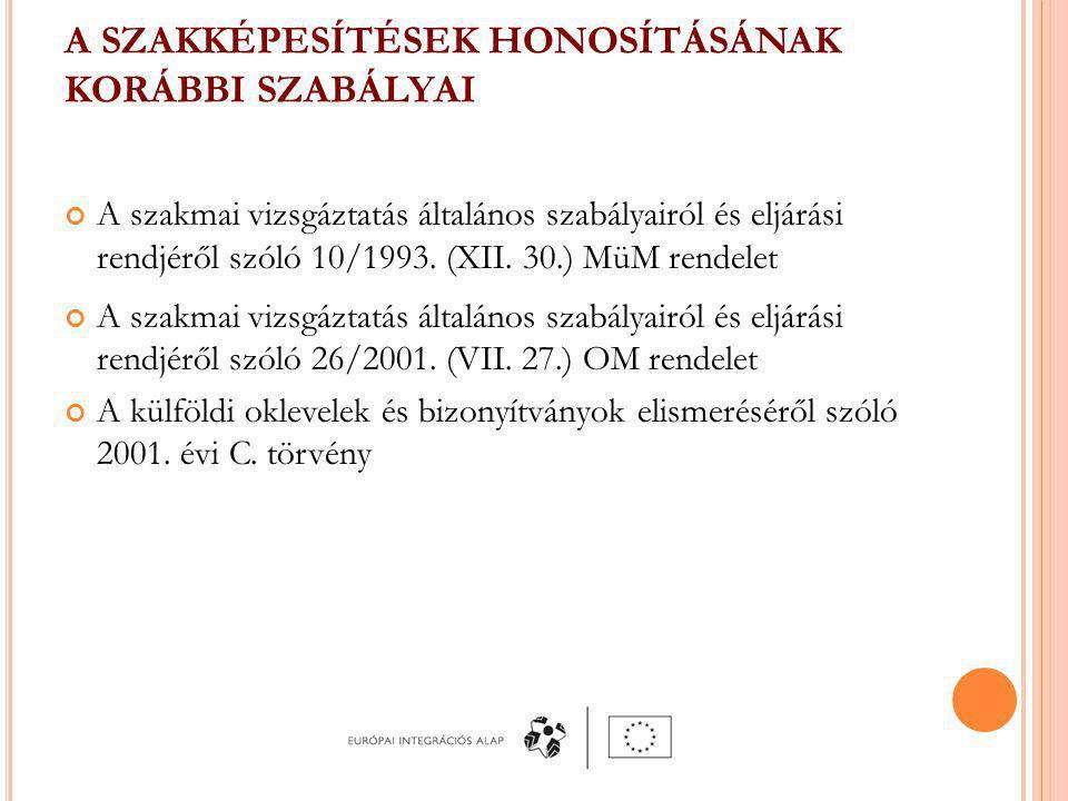 A SZAKKÉPESÍTÉSEK HONOSÍTÁSÁNAK KORÁBBI SZABÁLYAI A szakmai vizsgáztatás általános szabályairól és eljárási rendjéről szóló 10/1993.