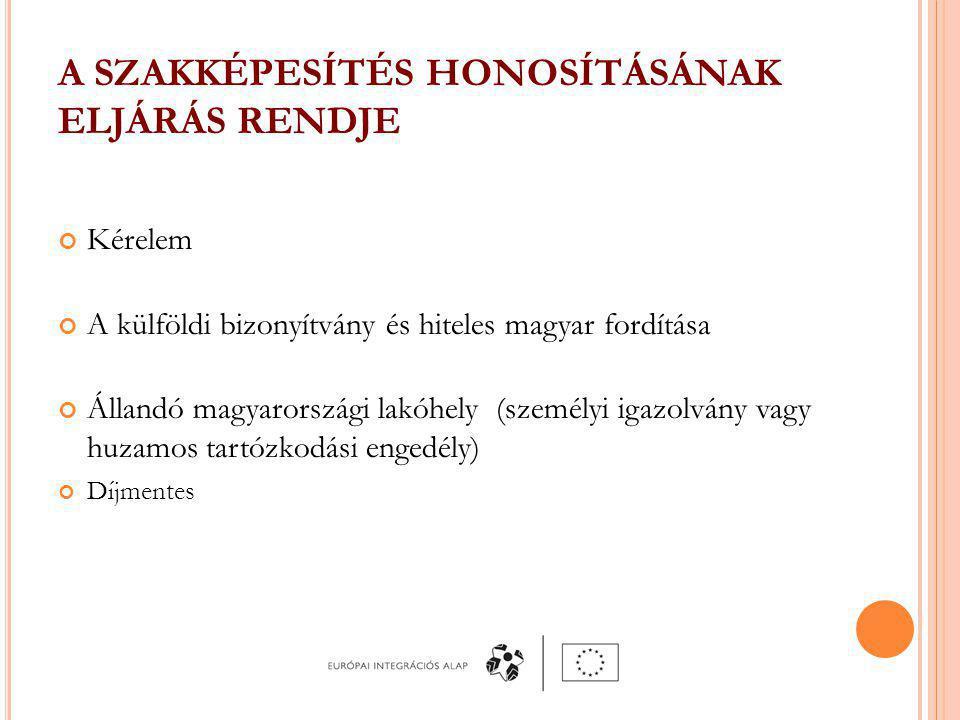 A SZAKKÉPESÍTÉS HONOSÍTÁSÁNAK ELJÁRÁS RENDJE Kérelem A külföldi bizonyítvány és hiteles magyar fordítása Állandó magyarországi lakóhely (személyi igazolvány vagy huzamos tartózkodási engedély) Díjmentes