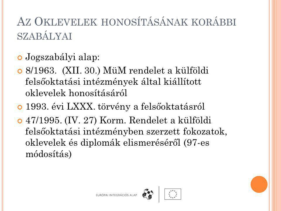 A Z O KLEVELEK HONOSÍTÁSÁNAK KORÁBBI SZABÁLYAI Jogszabályi alap: 8/1963.
