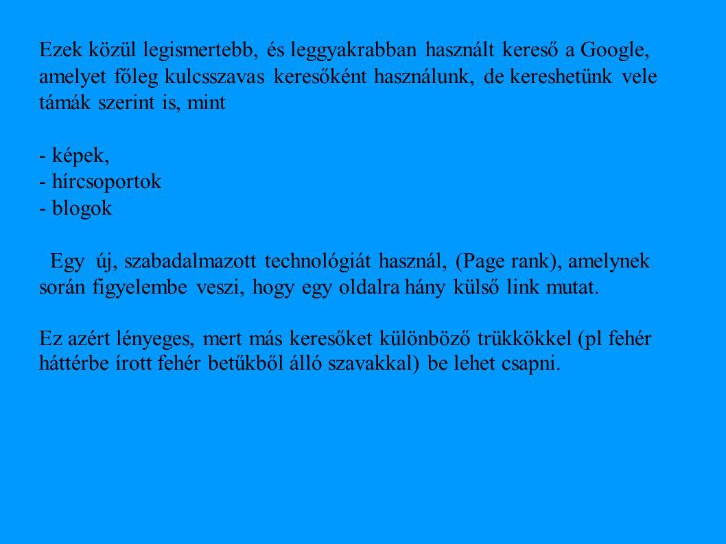 Ezek közül legismertebb, és leggyakrabban használt kereső a Google, amelyet főleg kulcsszavas keresőként használunk, de kereshetünk vele támák szerint