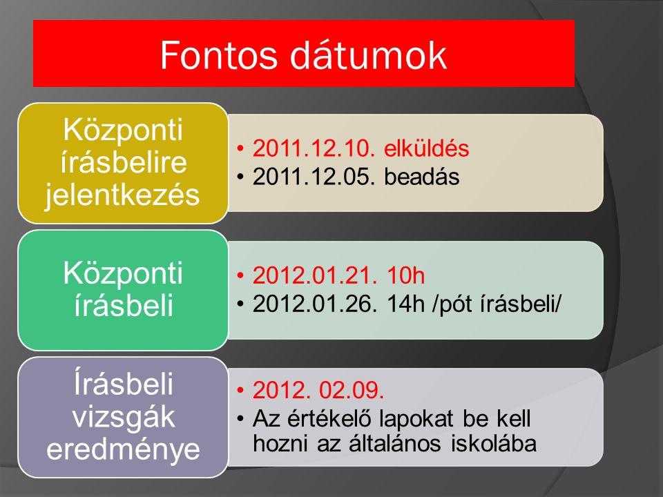 Fontos dátumok 2011.12.10. elküldés 2011.12.05. beadás Központi írásbelire jelentkezés 2012.01.21.