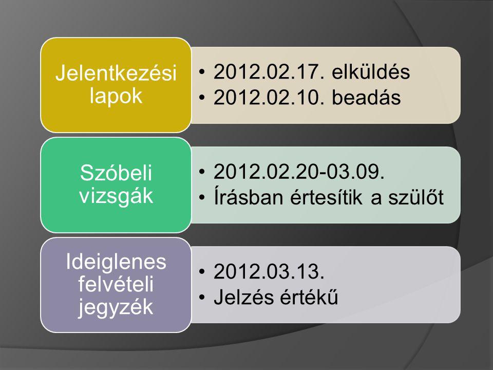 2012.02.17. elküldés 2012.02.10. beadás Jelentkezési lapok 2012.02.20-03.09.