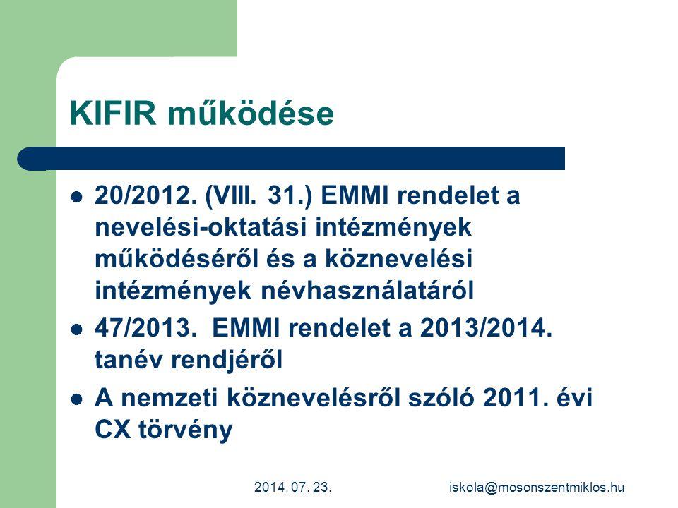 KIFIR működése 20/2012. (VIII. 31.) EMMI rendelet a nevelési-oktatási intézmények működéséről és a köznevelési intézmények névhasználatáról 47/2013. E