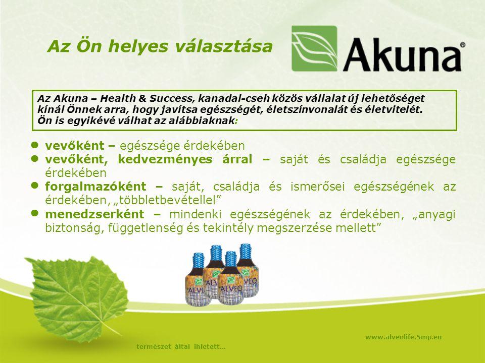 Az Ön helyes választása Az Akuna – Health & Success, kanadai-cseh közös vállalat új lehetőséget kínál Önnek arra, hogy javítsa egészségét, életszínvon