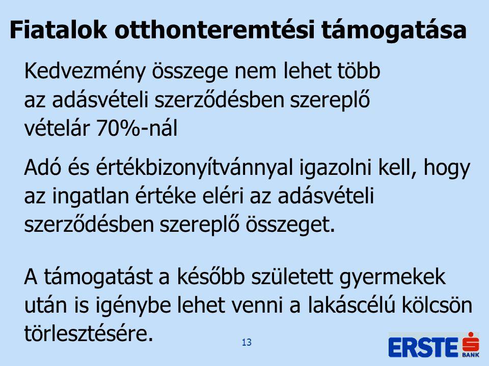 13 Kedvezmény összege nem lehet több az adásvételi szerződésben szereplő vételár 70%-nál Adó és értékbizonyítvánnyal igazolni kell, hogy az ingatlan értéke eléri az adásvételi szerződésben szereplő összeget.