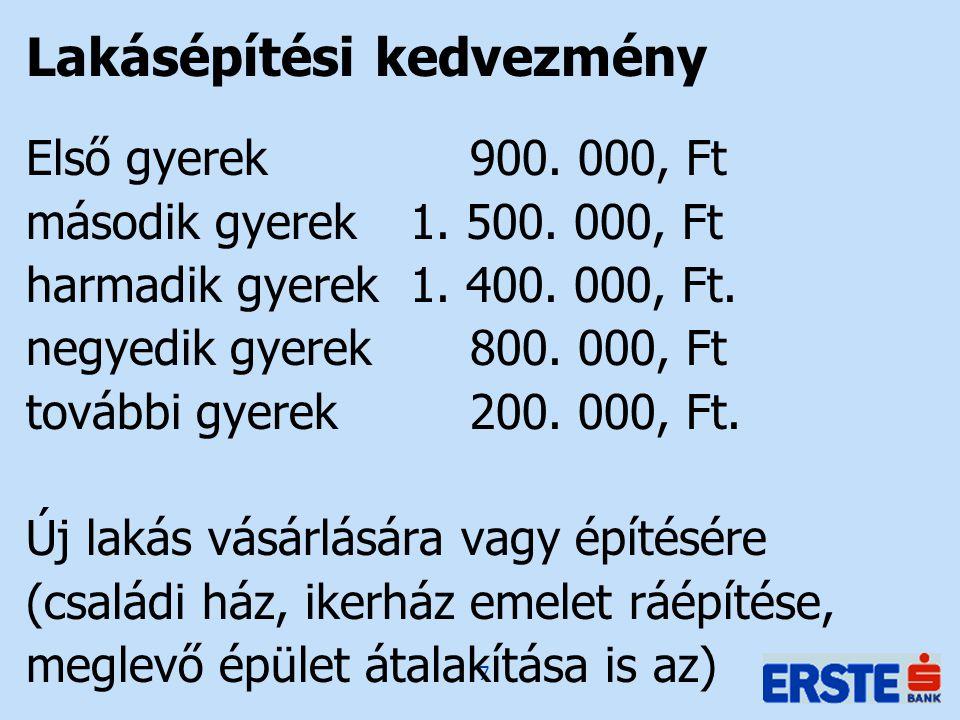 7 Lakásépítési kedvezmény Első gyerek 900. 000, Ft második gyerek1. 500. 000, Ft harmadik gyerek 1. 400. 000, Ft. negyedik gyerek 800. 000, Ft további