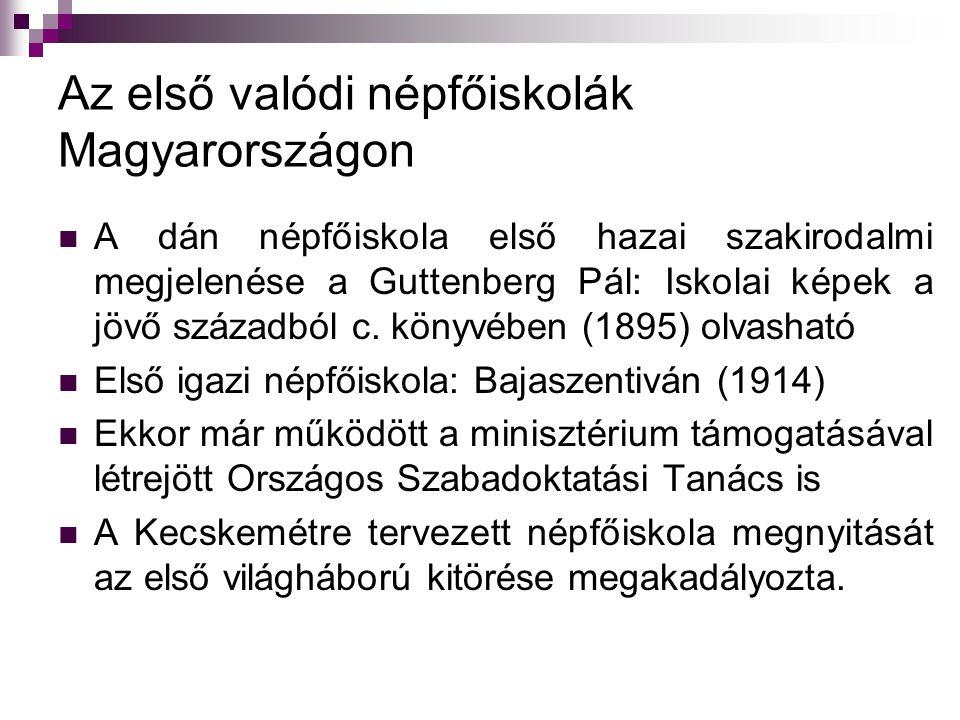Az első valódi népfőiskolák Magyarországon A dán népfőiskola első hazai szakirodalmi megjelenése a Guttenberg Pál: Iskolai képek a jövő századból c. k