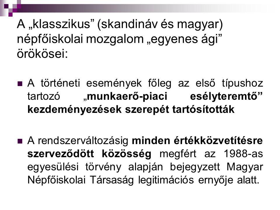 """A """"klasszikus"""" (skandináv és magyar) népfőiskolai mozgalom """"egyenes ági"""" örökösei: A történeti események főleg az első típushoz tartozó """"munkaerő-piac"""
