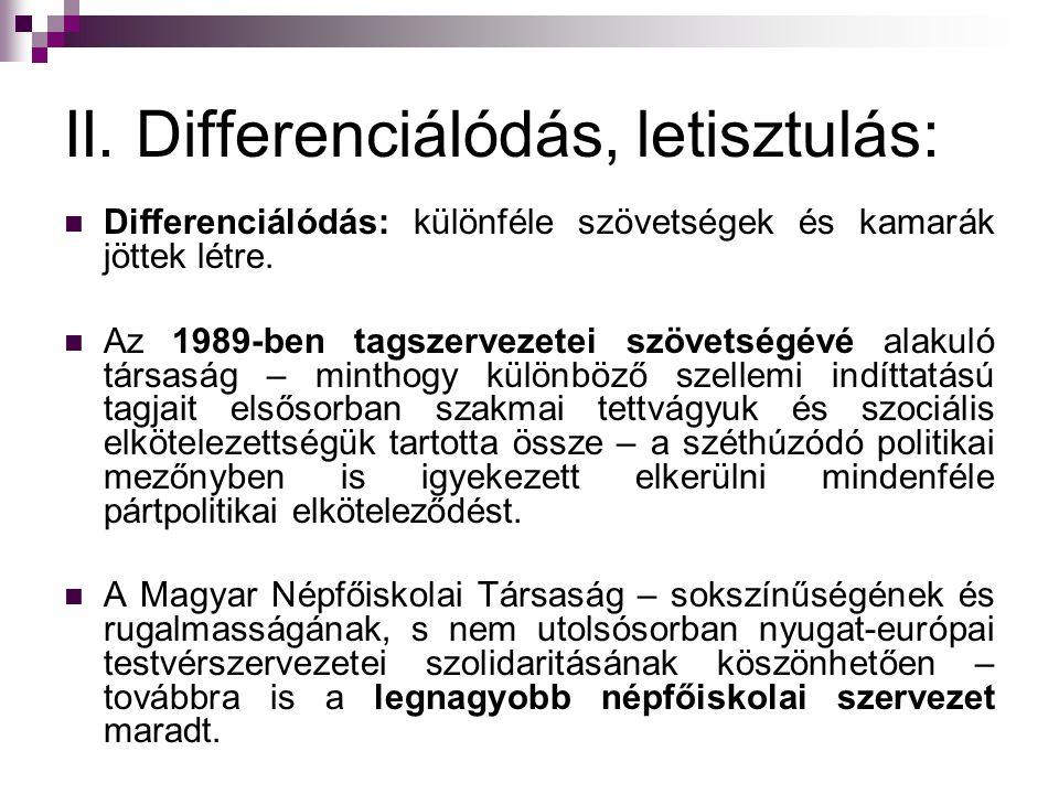 II. Differenciálódás, letisztulás: Differenciálódás: különféle szövetségek és kamarák jöttek létre. Az 1989-ben tagszervezetei szövetségévé alakuló tá