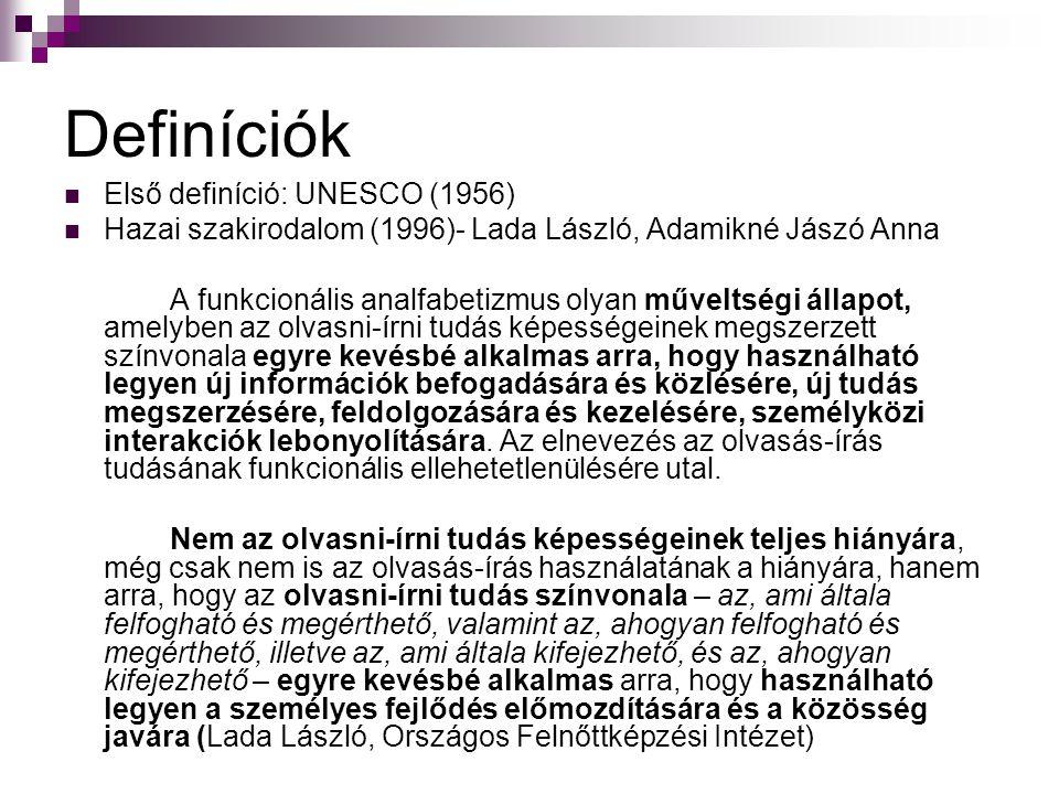 Definíciók Első definíció: UNESCO (1956) Hazai szakirodalom (1996)- Lada László, Adamikné Jászó Anna A funkcionális analfabetizmus olyan műveltségi ál