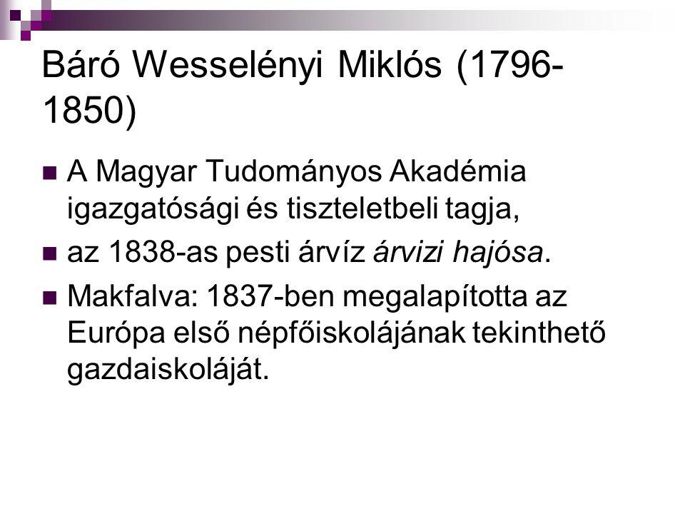 Báró Wesselényi Miklós (1796- 1850) A Magyar Tudományos Akadémia igazgatósági és tiszteletbeli tagja, az 1838-as pesti árvíz árvizi hajósa. Makfalva: