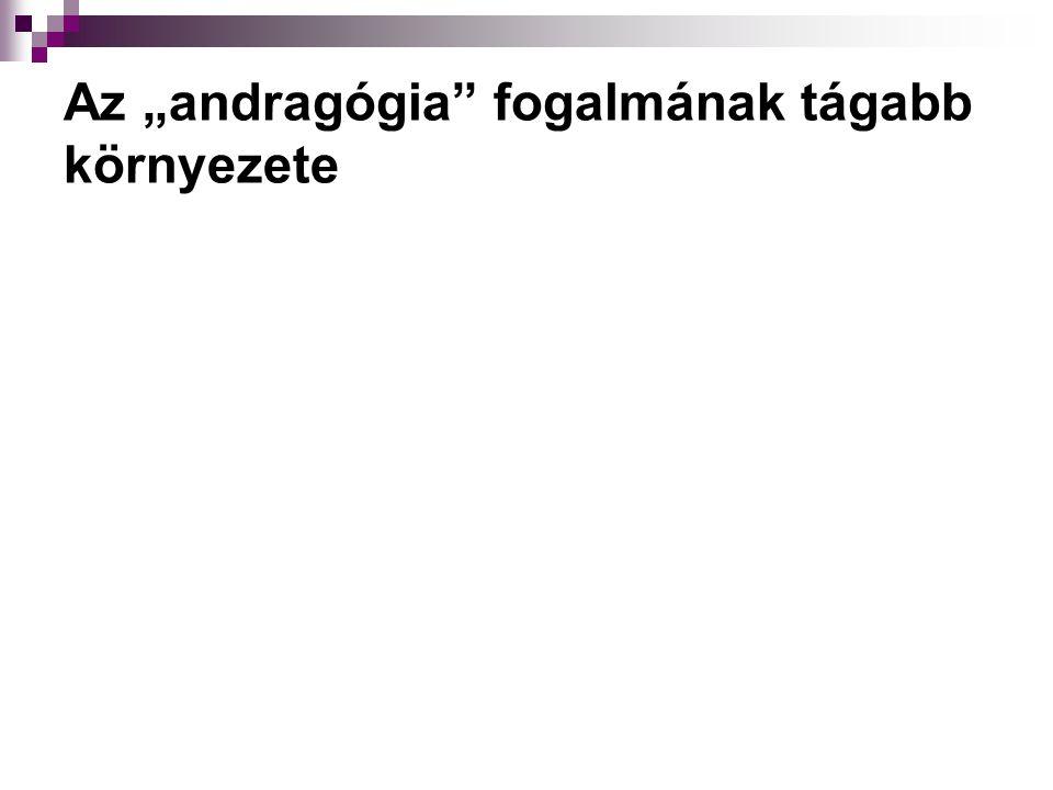 """Az andragógia szó jelentése Andra-, andro- előtag jelentése: """"felnőtt (Andra)-gógia utótag jelentése: """"nevelés (Andro)-lógia utótag jelentése: """"tudomány"""