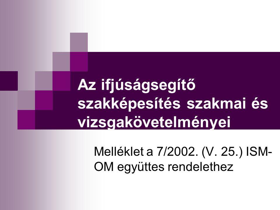 Az ifjúságsegítő szakképesítés szakmai és vizsgakövetelményei Melléklet a 7/2002.
