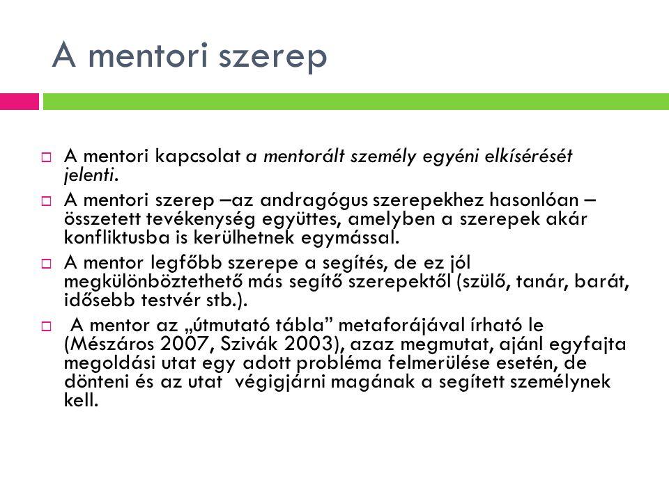 A mentori szerep  A mentori kapcsolat a mentorált személy egyéni elkísérését jelenti.  A mentori szerep –az andragógus szerepekhez hasonlóan – össze