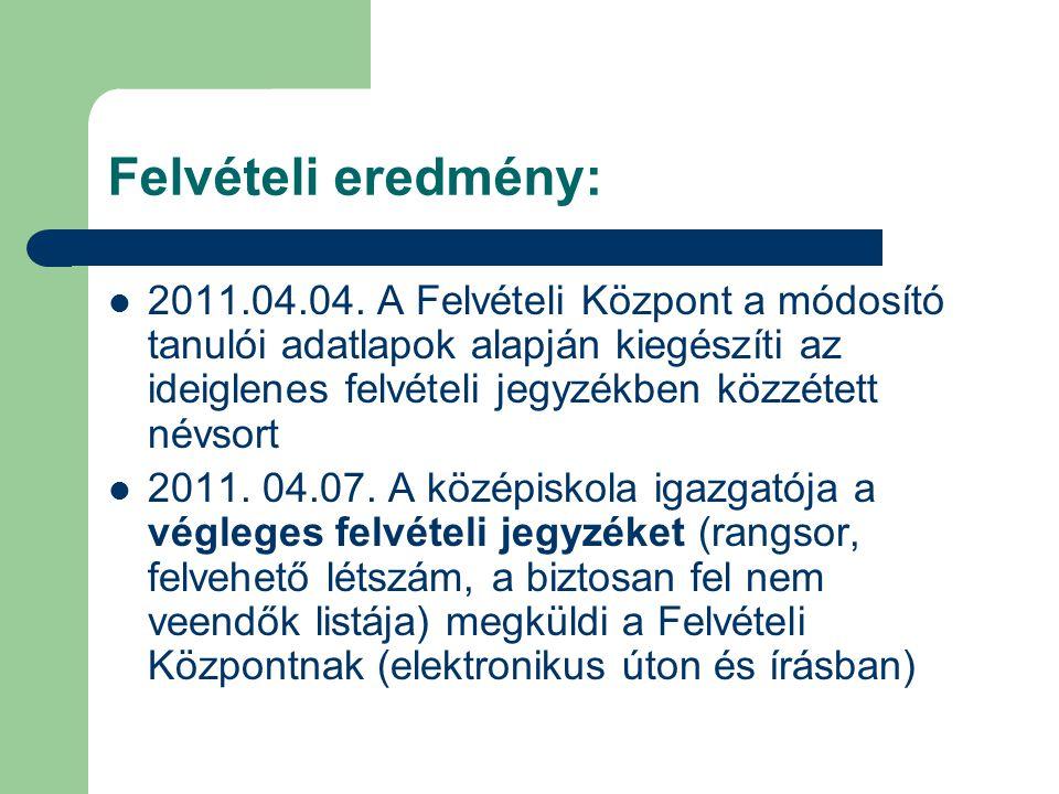 Felvételi eredmény: 2011.04.04.