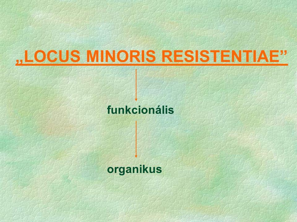 """""""LOCUS MINORIS RESISTENTIAE"""" funkcionális organikus"""