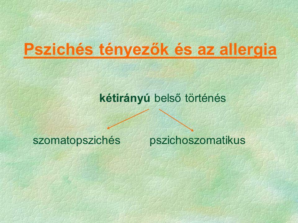 Pszichés tényezők és az allergia kétirányú belső történés szomatopszichéspszichoszomatikus