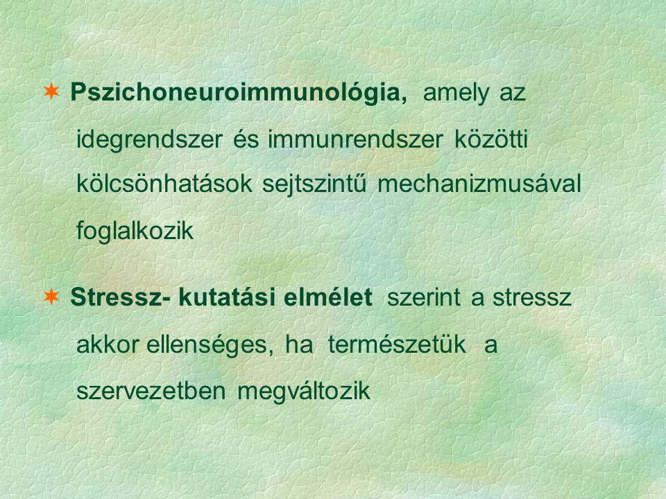  Pszichoneuroimmunológia, amely az idegrendszer és immunrendszer közötti kölcsönhatások sejtszintű mechanizmusával foglalkozik  Stressz- kutatási el